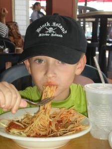 When he is older, I'll have to remind him not to order pasta on a date.