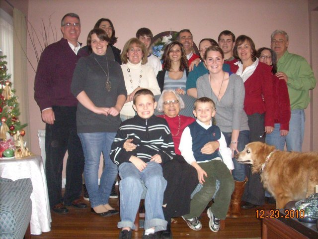 The matriarch in all her glory with some of the family at Christmas 2010.